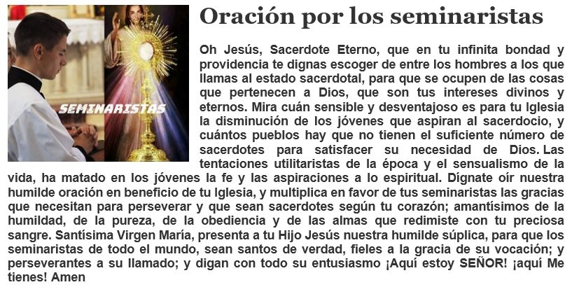 Oración por los Seminaristas